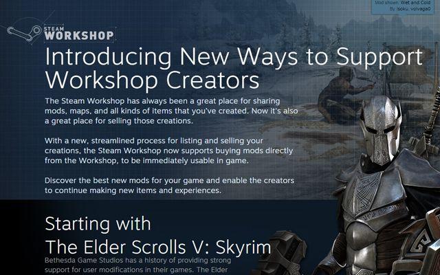 Steamにて、「The Elder Scrolls V: Skyrim」のMODが有料販売にも対応。それに合わせフリーウィークエンドも実施